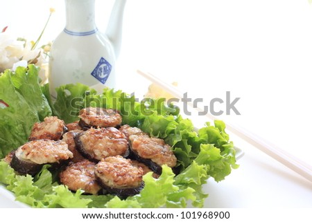 Chinese cuisine, eggplant and mince fried - stock photo