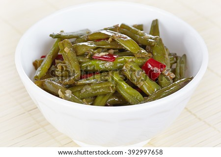 Chinese cuisine. Fried green beans Sichuan - stock photo