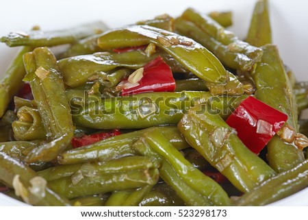 Chinese cuisine. Fried green beans Sichuan