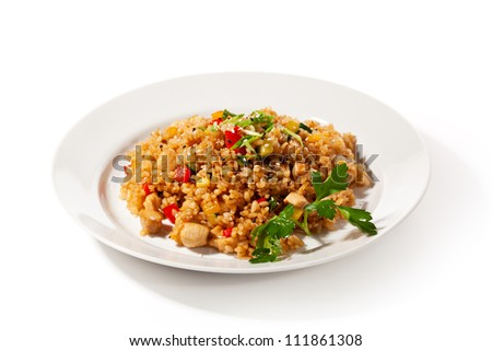 Chinese Cuisine - Fried Rice with Vegetables and Meat - stock photo