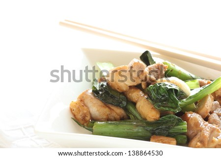 Chinese cuisine, green leaf vegetable and chicken stir fried