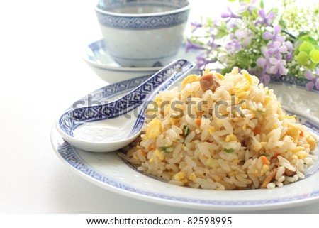 Chinese cuisine, roasted pork and egg fried rice