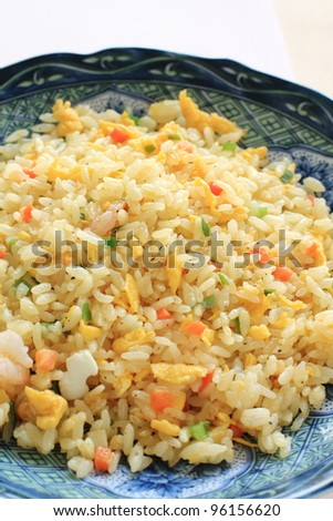 Chinese cuisine, shrimp and egg fried rice