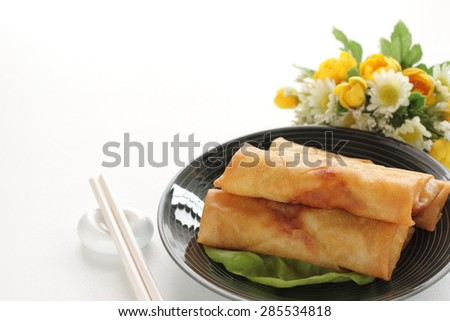 Chinese cuisine, spring roll dumpling food - stock photo