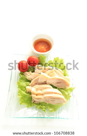 Chinese cuisine, steamed chicken and sauce for appetizer