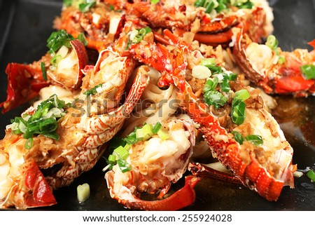 Chinese cuisine - Steamed shrimp with garlic    - stock photo