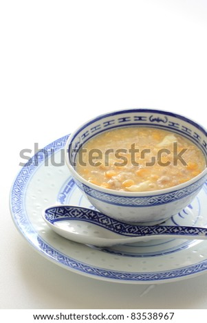 Chinese cuisine, sweet corn and chicken mince soup