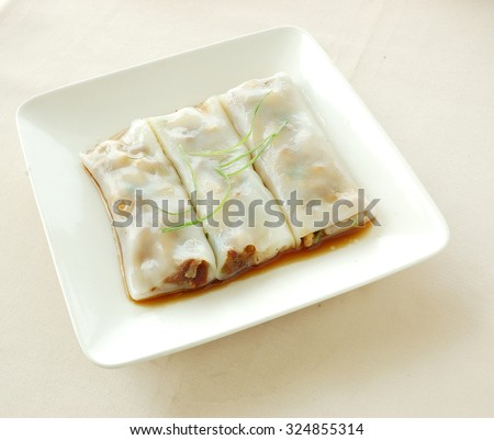 chinese cuisine. yumcha, chinese food. Steamed rice roll. - stock photo