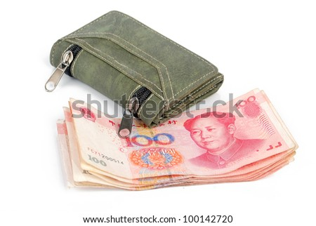 Chinese currency and wallet - stock photo