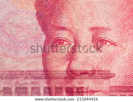 Chinese currency 100 Yuan closedup foucs on eyes