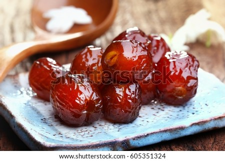 Chinese Date Jujube Or Monkey Apple Boiled With Syrup Chinese Date Link Or Jujube