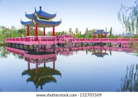 chinese decoration building on the lake