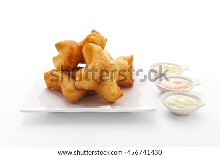 Chinese deep-fried dough stick with colorful custard dipping