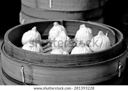 Chinese Dim sum dumplings food on display in Shanghai, China.