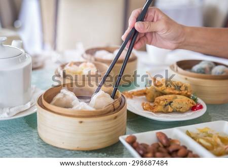 chinese dim sum set  - stock photo