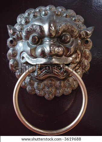 Chinese door with lion head