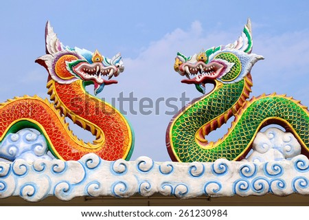 Chinese dragon on a temple roof - stock photo