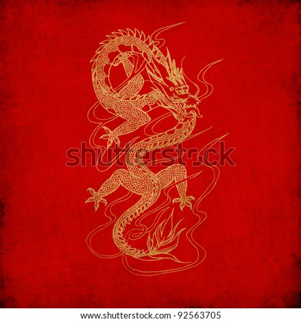 Chinese dragon on old red paper background - stock photo