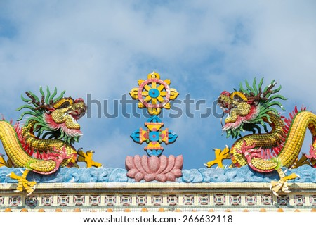 Chinese dragon on rooftop