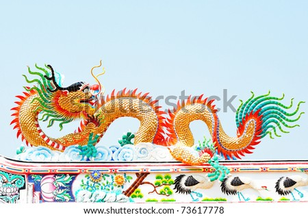 Chinese dragon on the blue sky