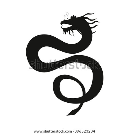 Chinese dragon silhouette isolated on white background. - stock photo