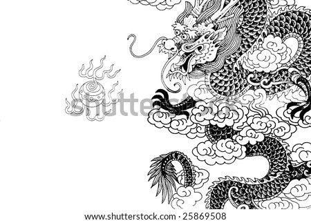 chinese dragon with white background - stock photo
