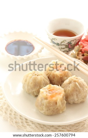 Chinese dumpling, assorted dim sum Shumai and xiaolongbao  - stock photo