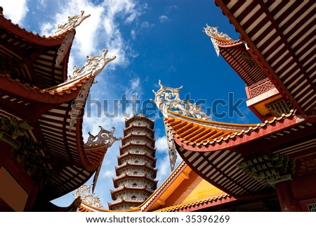Chinese eaves under blue sky in the temple of Xichan,Fuzhou,China