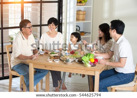 chinese family having lunch