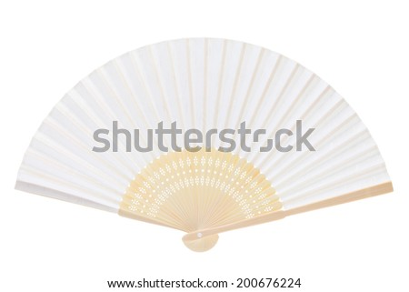 Chinese Fan Outline Chinese Fan Isolated on White