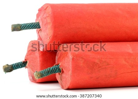 Chinese firecrackers against white background - stock photo