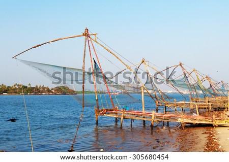 Chinese Fishing nets  - stock photo