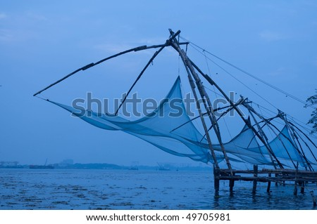 Chinese Fishing nets at fort Cochin on an overcast day