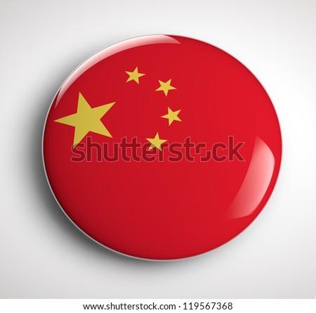 Chinese flag badge - stock photo