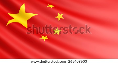 Chinese flag fluttering in wind.