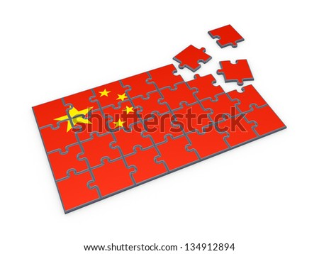 Chinese flag made of puzzles.Isolated on white.3d rendered. - stock photo