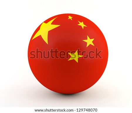 Chinese flag on 3D sphere