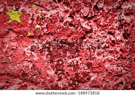 Chinese flag painted on grunge wall  - stock photo