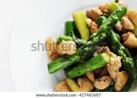 Chinese food, asparagus and chicken stir fried