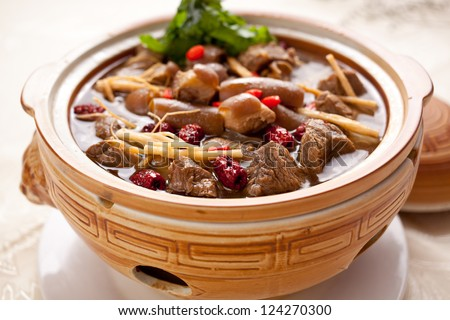 Chinese food, beef stew, contains ginseng, medlar, angelica many herbs - stock photo