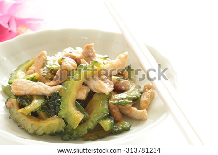 Chinese food, bitter melon and pork stir fried