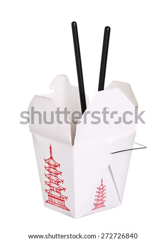chinese food box container and chopsticks isolated on white background - stock photo