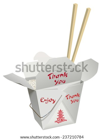 Chinese food in a take-home container with chop stick placed down in the food. - stock photo