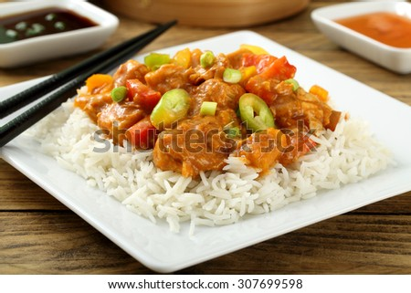chinese food meat and rice - stock photo