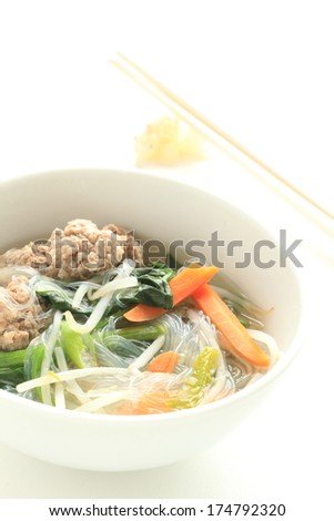 Chinese food, meat ball and gelatin noodle soup