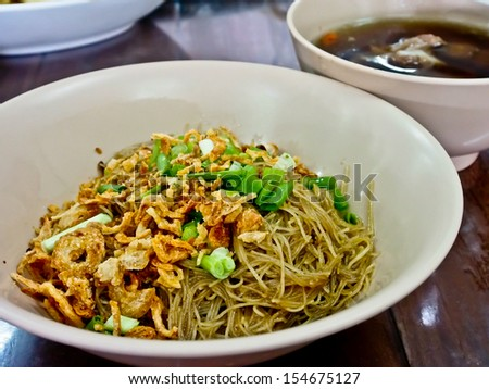 Chinese food, noodle with pork soup