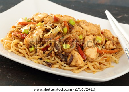 Chinese food noodles chicken  - stock photo