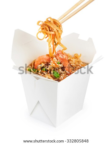 Chinese food. Noodles with shrimp isolated on white background. Opened take out box. - stock photo
