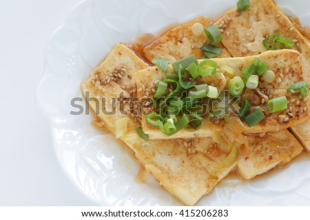 Chinese food, pan fried Tofu with scallion sauce