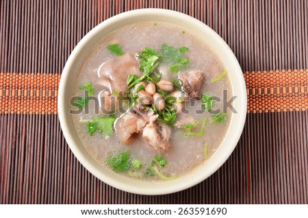 Chinese food-peanut pork knuckle soup    - stock photo